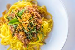 Sauce et porc à spaghetti Image stock