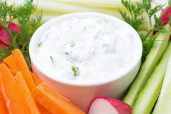 Sauce with feta cheese and assorted vegetables, selective focus Royalty Free Stock Photography