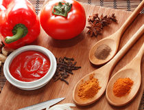 Sauce ingredient. On wood table Stock Photos