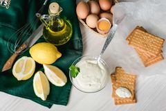 Homemade mayonnaise, ingredients for cooking. royalty free stock photography