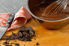Sauce Pan With Chocolate Pudding Stock Images