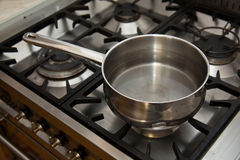 Sauce pan on stove Stock Image