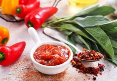 Sauce. With pepper in bowl, stock photo Royalty Free Stock Image