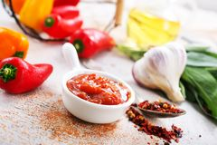 Sauce. With pepper in bowl, stock photo Royalty Free Stock Photos