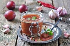 Sauce per carne arrostita dalle prugne organiche con coriandolo, aglio e quattro spezie Immagini Stock Libere da Diritti
