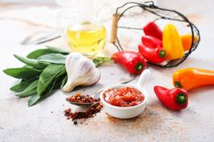 Sauce. With pepper in bowl, stock photo Royalty Free Stock Images