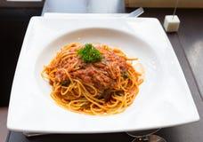 Sauce savoureuse à porc de spaghetti Photo libre de droits