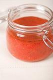 Sauce tomate épicée dans un choc Images libres de droits