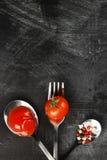 Sauce tomate, cerise, épices dans la fourchette et cuillères sur une obscurité Image libre de droits