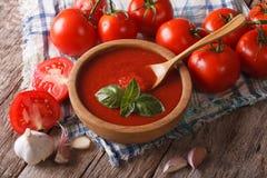 Sauce tomate faite maison avec l'ail et le plan rapproché de basilic horizontal Image stock