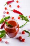 Sauce tomate, ketchup dans le pot en verre et ingrédients photos libres de droits