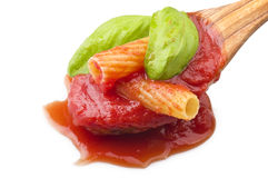 Sauce of tomatoes with maccaroni Royalty Free Stock Photography