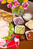 The sauce and Variety of vegetables for cooking shawarma Stock Photography