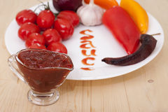 Sauce and vegetables Stock Images