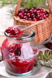 Sauce of wild organic cranberries on a wooden Stock Photography