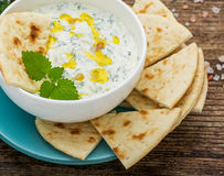 Sauce with yogurt and cucumber for starter Royalty Free Stock Photos