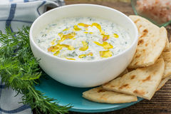 Sauce with yogurt and cucumber for starter Stock Photo