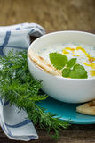 Sauce with yogurt and cucumber for starter Stock Images