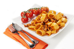Sauced pasta with squid Royalty Free Stock Photography