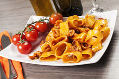 Sauced pasta with squid Royalty Free Stock Images