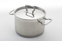 Saucepan. Very clean silver pot Royalty Free Stock Photo