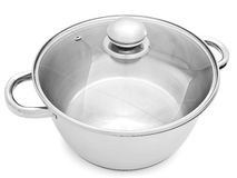 Saucepan. Metal saucepan with glass cover against the white background royalty free stock photography