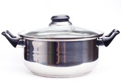 Saucepan. Silver saucepan on white background royalty free stock images