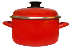 Saucepan. Red saucepan isolated on white background. Clipping path included stock photography