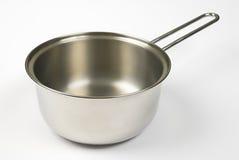 Saucepan. Shiny saucepan on white background stock image