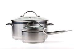 Saucepan. Iron on a white background stock image