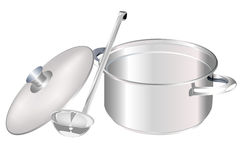 Saucepan and big spoon Stock Photos