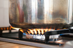 Saucepan on the Burner Royalty Free Stock Images