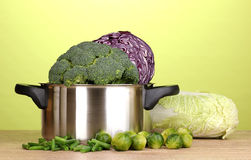 Saucepan with cabbages and broccoli Stock Photography