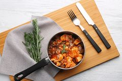 Saucepan with chicken cacciatore Stock Image