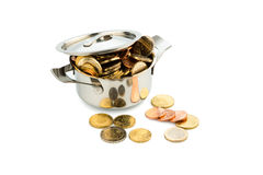 Saucepan and euro coins. A pot filled with euro coins photo icon for government subsidies Royalty Free Stock Photo