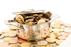 Saucepan and euro coins. A pot filled with euro coins photo icon for funding Royalty Free Stock Photography
