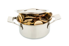 Saucepan and euro coins. A pressure cooker is well filled with euro coins, symbolic photo for funding Royalty Free Stock Photo