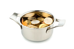 Saucepan and euro coins. A cooking pot, to häfte filled with euro coins photo icon on debt and financial needs Stock Photography