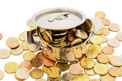 Saucepan and euro coins. A cooking pot is filled with euro coins, symbolic photo for funding Royalty Free Stock Images