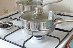 Saucepan On Gas Hob Stock Images