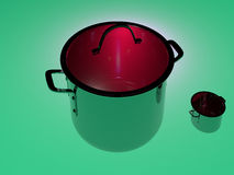 Saucepan with glass lid. Saucepan with a glass cover on a green background Stock Photo