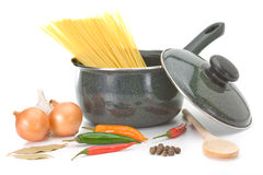 Saucepan with ingredients for chicken soup Stock Images