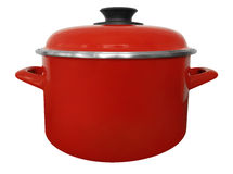 Saucepan isolated - red Stock Images