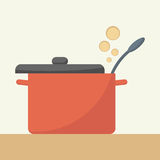 Saucepan with lid open. Royalty Free Stock Photo