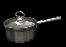 Saucepan, made of stainless steel. Stock Images
