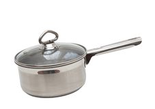 Saucepan, made of stainless steel. Royalty Free Stock Image