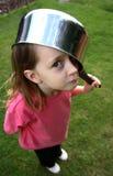 Saucepan na cabeça Fotografia de Stock Royalty Free