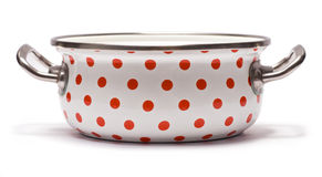 Saucepan with Red Dots Royalty Free Stock Image