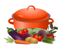 Saucepan and ripe vegetables Stock Image