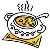 Saucepan with soup royalty free illustration